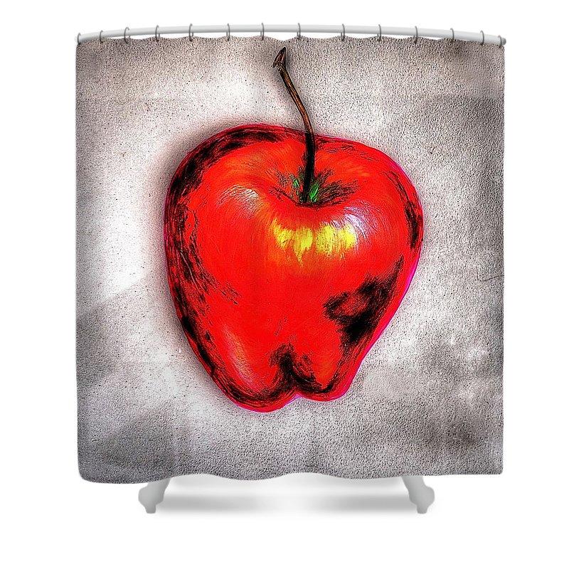 Fruit Shower Curtain featuring the photograph Temptation Apple by Martin Desmarais