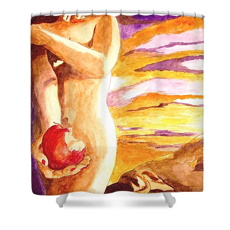 Watercolor Shower Curtain featuring the painting Temptation by Herschel Fall