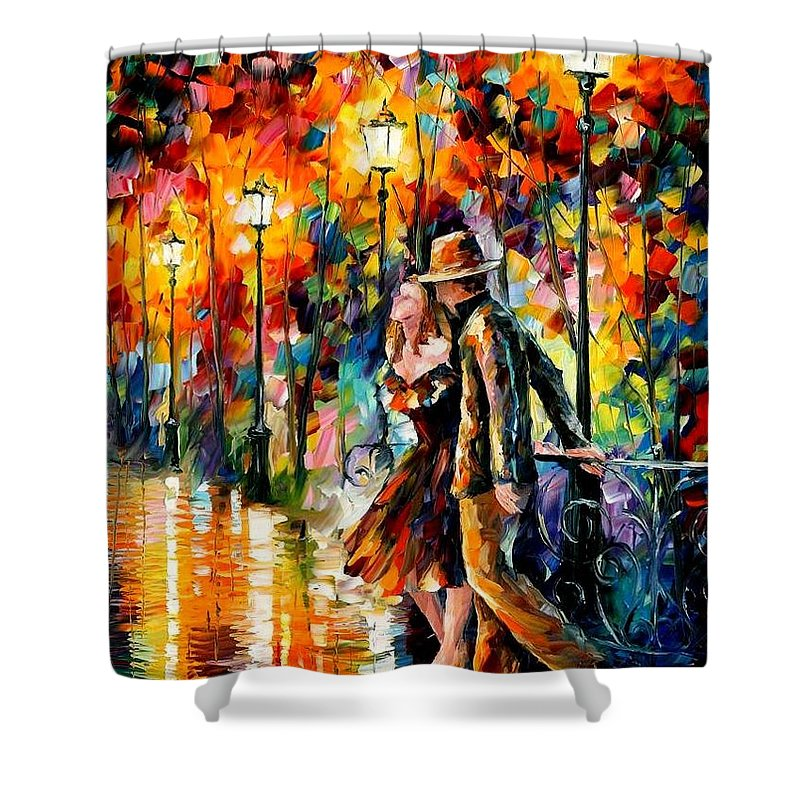 Scenery Shower Curtain featuring the painting Tempter by Leonid Afremov