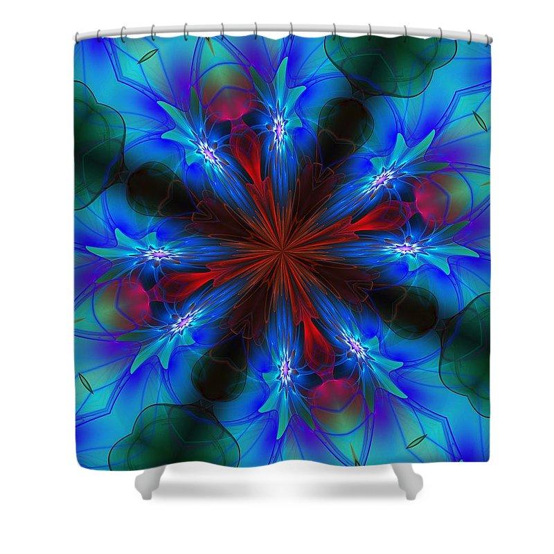Fine Art Shower Curtain featuring the digital art Ten Minute Art 082610-6 by David Lane