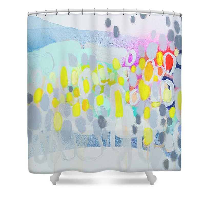 Abstract Shower Curtain featuring the painting Ten O'clock Flight by Claire Desjardins