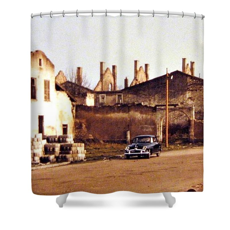 1955 Shower Curtain featuring the photograph Ten Years After The Bombs 1955 by Will Borden