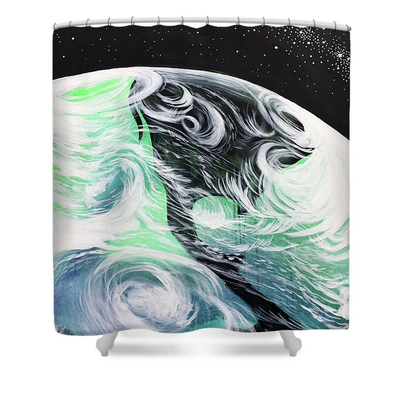 Space Shower Curtain featuring the painting Tenaciously Mindful by Nathan Rhoads