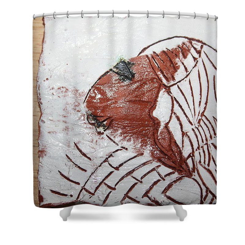 Jesus Shower Curtain featuring the ceramic art Tendo - Tile by Gloria Ssali