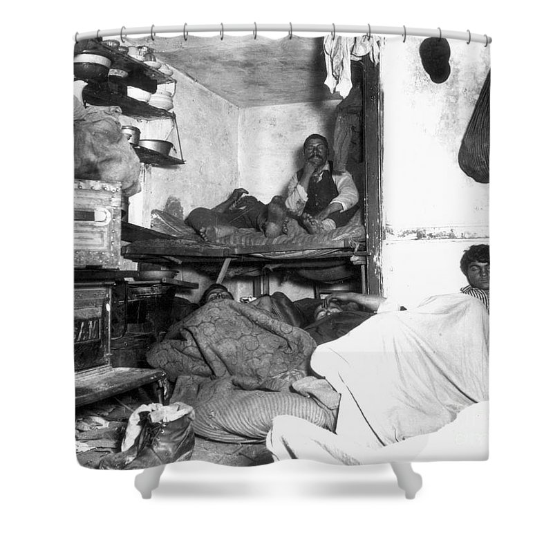 1889 Shower Curtain featuring the photograph Tenement Life, Nyc, C1889 by Granger