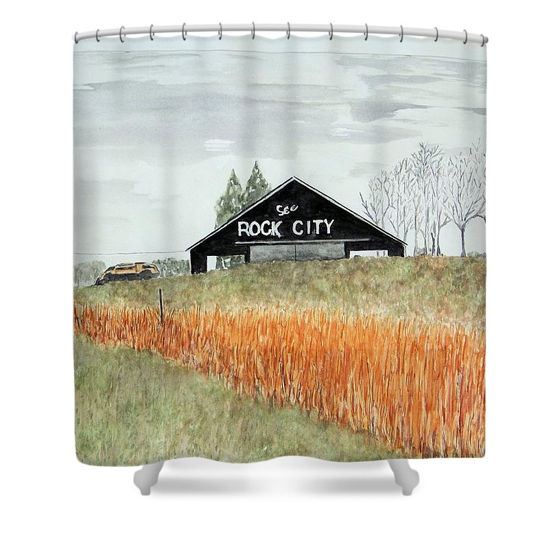 Barns Shower Curtain featuring the painting Tennessee Destination by Larry Wright