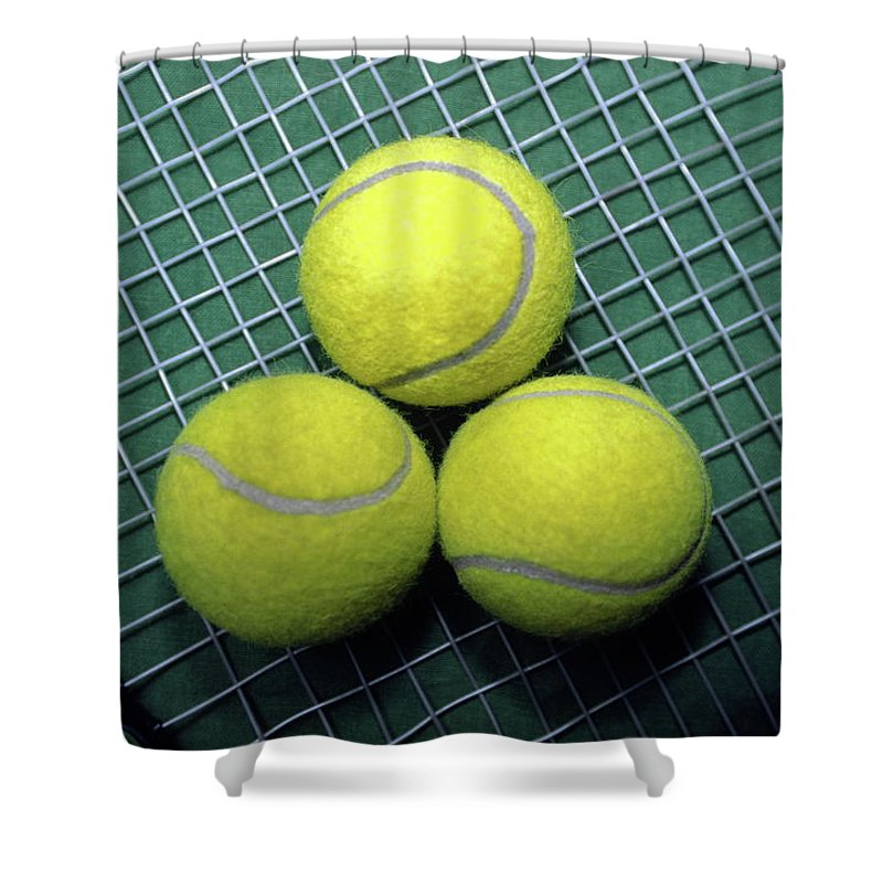 3 Yellow Tennis Balls Shower Curtain featuring the photograph Tennis Anyone by Sally Weigand
