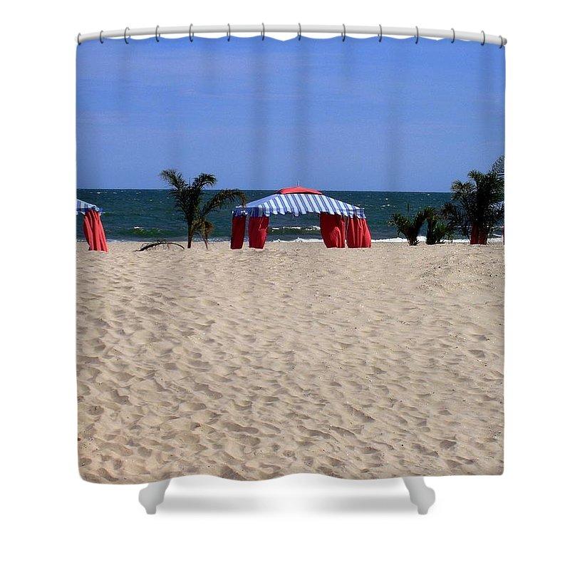 Beach Shower Curtain featuring the photograph Tent Caravan by Deborah Crew-Johnson