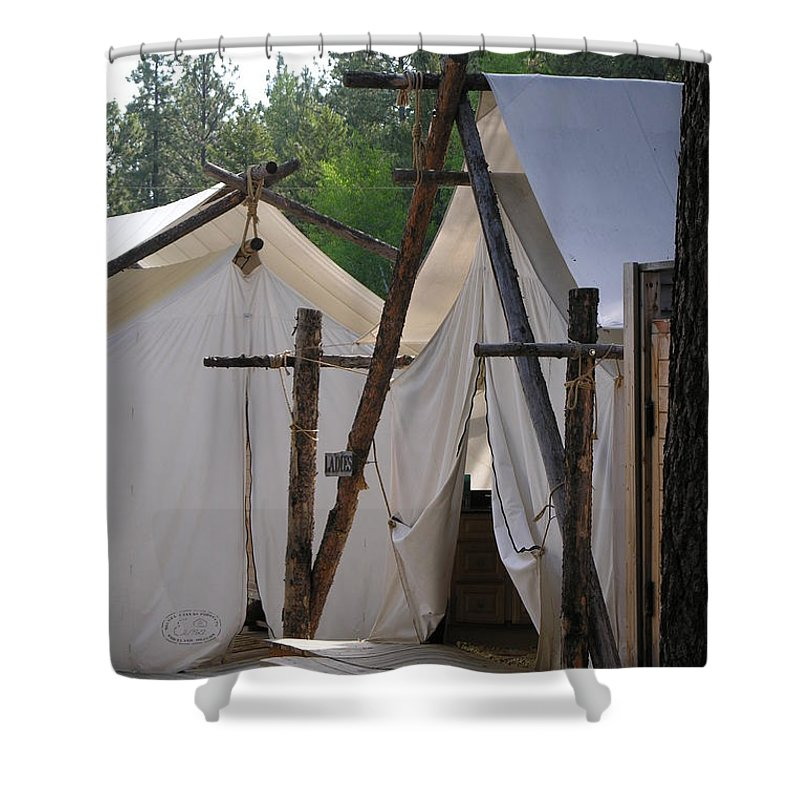 Montana Shower Curtain featuring the photograph Tent Living Montana by Diane Greco-Lesser