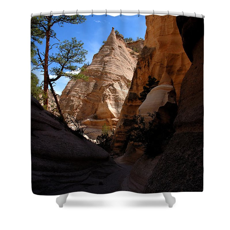 Tent Rocks Wilderness New Mexico Shower Curtain featuring the photograph Tent Rocks Canyon by David Lee Thompson