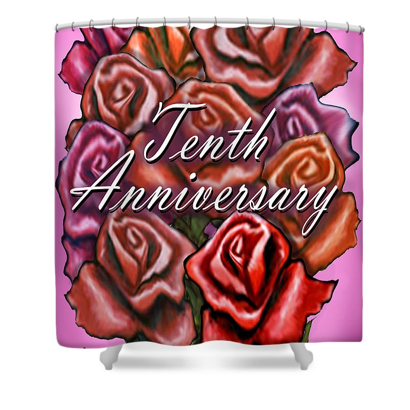 Tenth Shower Curtain featuring the greeting card Tenth Anniversary by Kevin Middleton