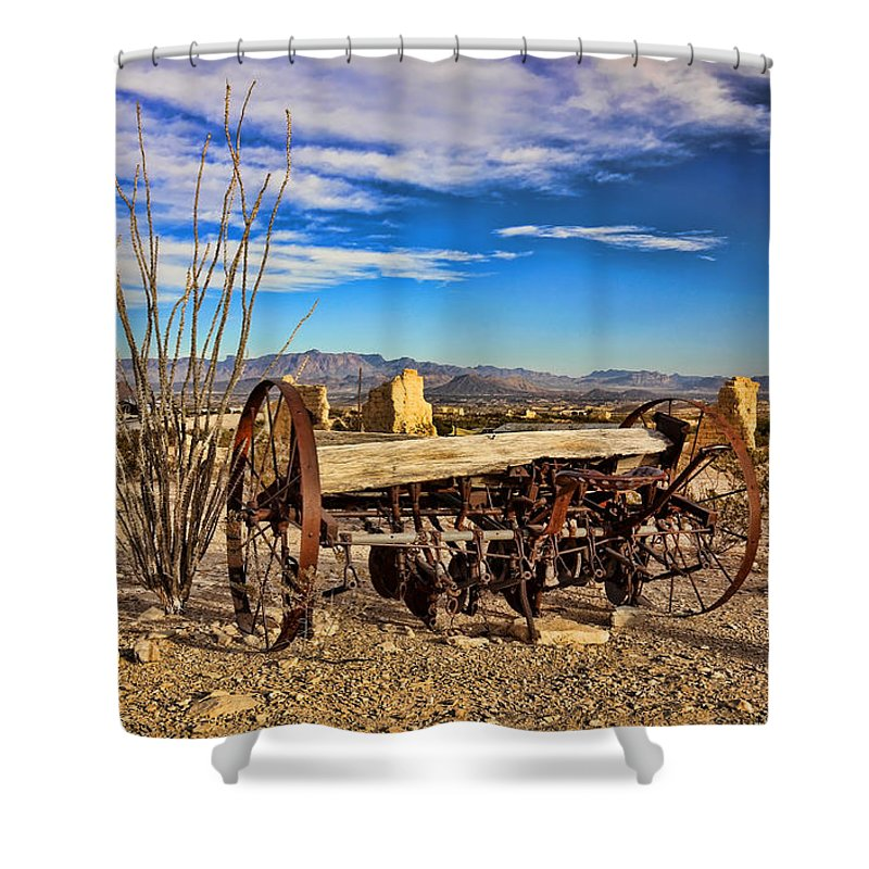 Terlingua Shower Curtain featuring the photograph Terlingua Ghost Town 2 by Judy Vincent