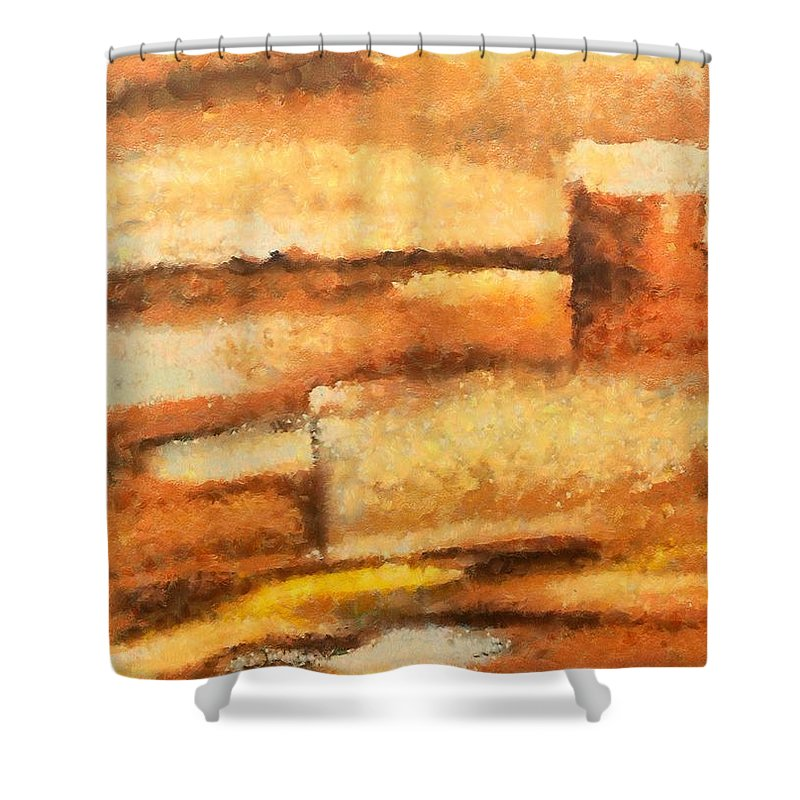 Mixed Media Shower Curtain featuring the mixed media Terra rossa by Dragica Micki Fortuna