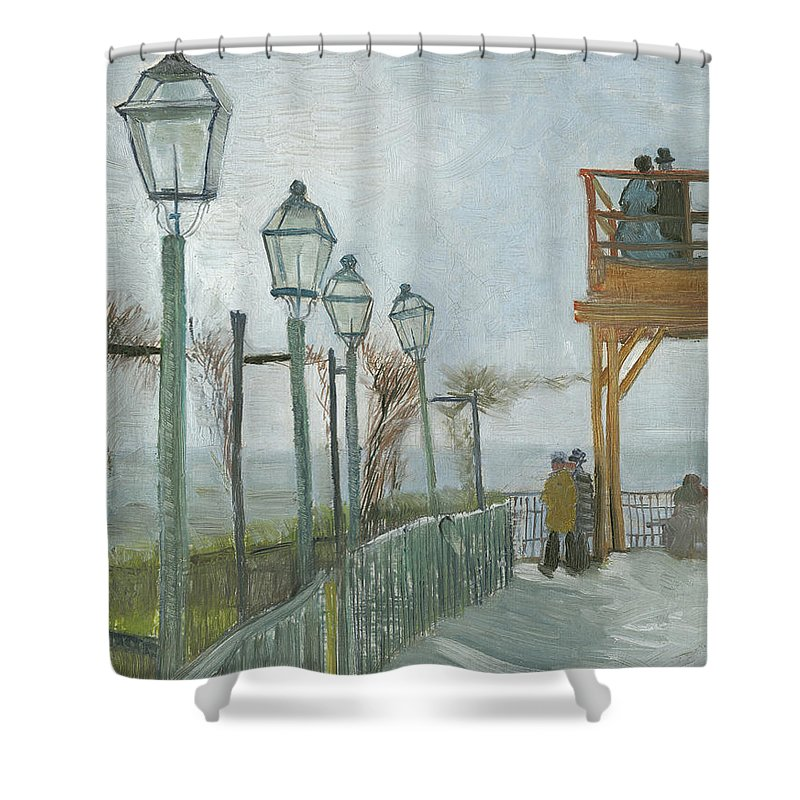 Montmartre Shower Curtain featuring the painting Terrace And Observation Deck At The Moulin De Blute Fin by Vincent Van Gogh