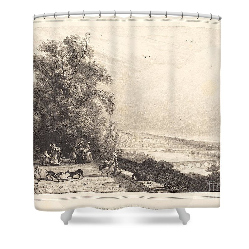 Shower Curtain featuring the drawing Terrace Of St. Cloud (terrasse De St. Cloud) by Paul Huet