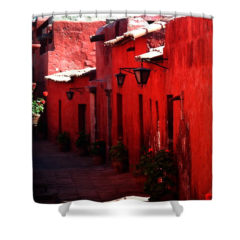 Terracotta Shower Curtain featuring the photograph Terracotta Convent by Harry Coburn