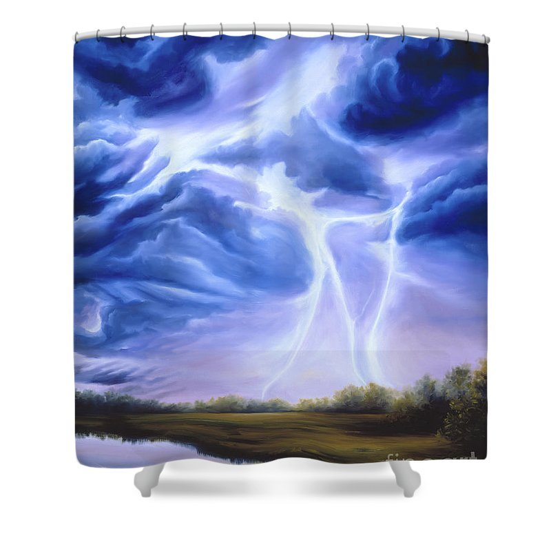 Marsh Shower Curtain featuring the painting Tesla by James Christopher Hill