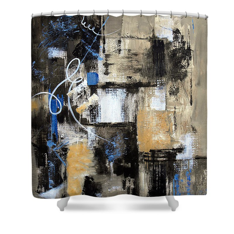 Abstract Shower Curtain featuring the painting Testing The Waters by Ruth Palmer
