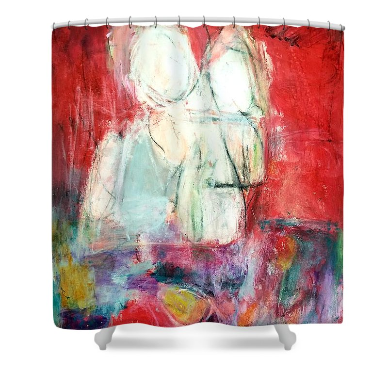 Red Shower Curtain featuring the painting Tete-a-tete by Patricia Byron
