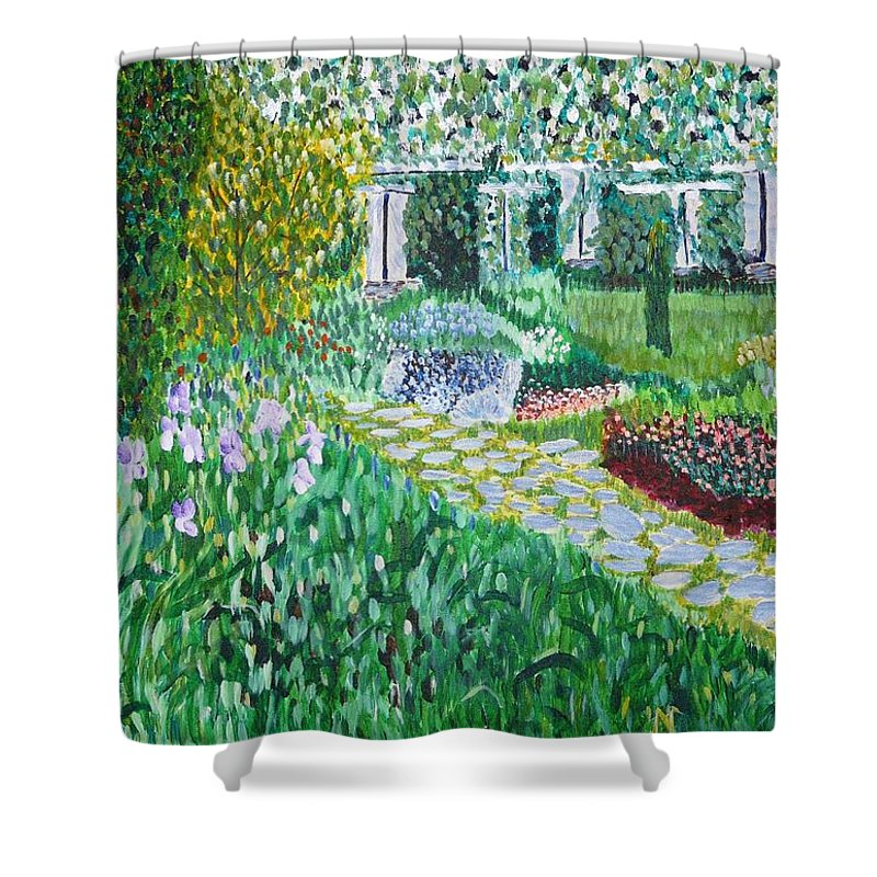 Landscape Shower Curtain featuring the painting Tete D'or Park Lyon France by Valerie Ornstein