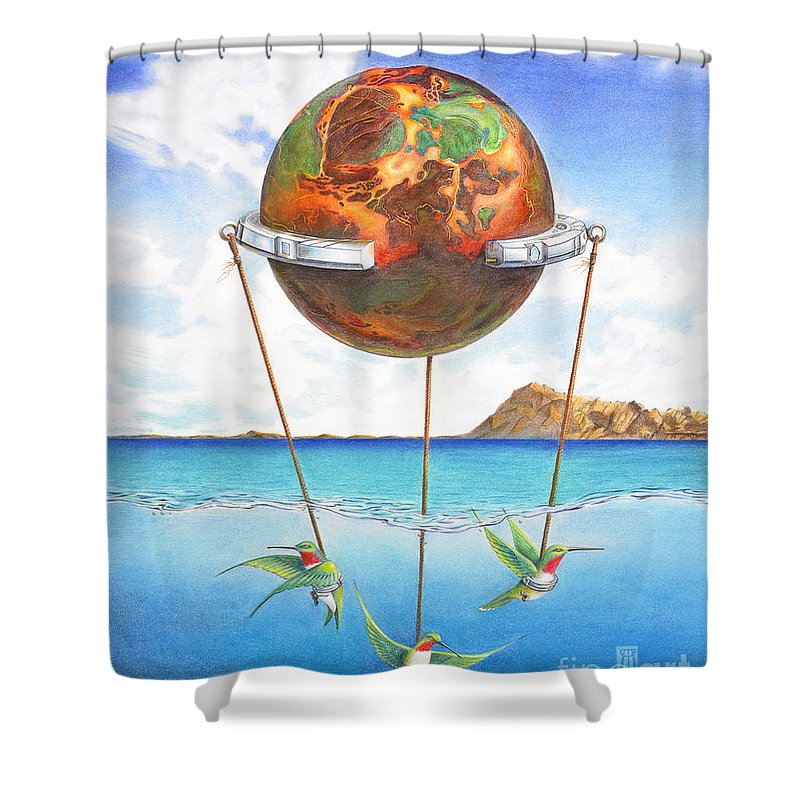 Surreal Shower Curtain featuring the painting Tethered Sphere by Melissa A Benson
