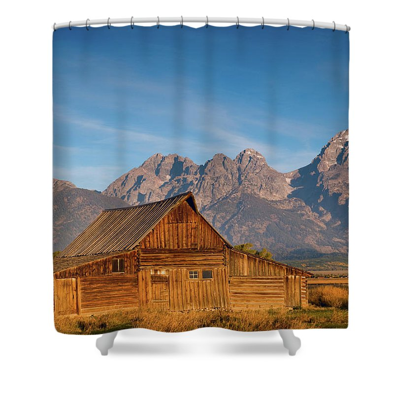 Grand Teton Shower Curtain featuring the photograph Teton Barn by Steve Stuller