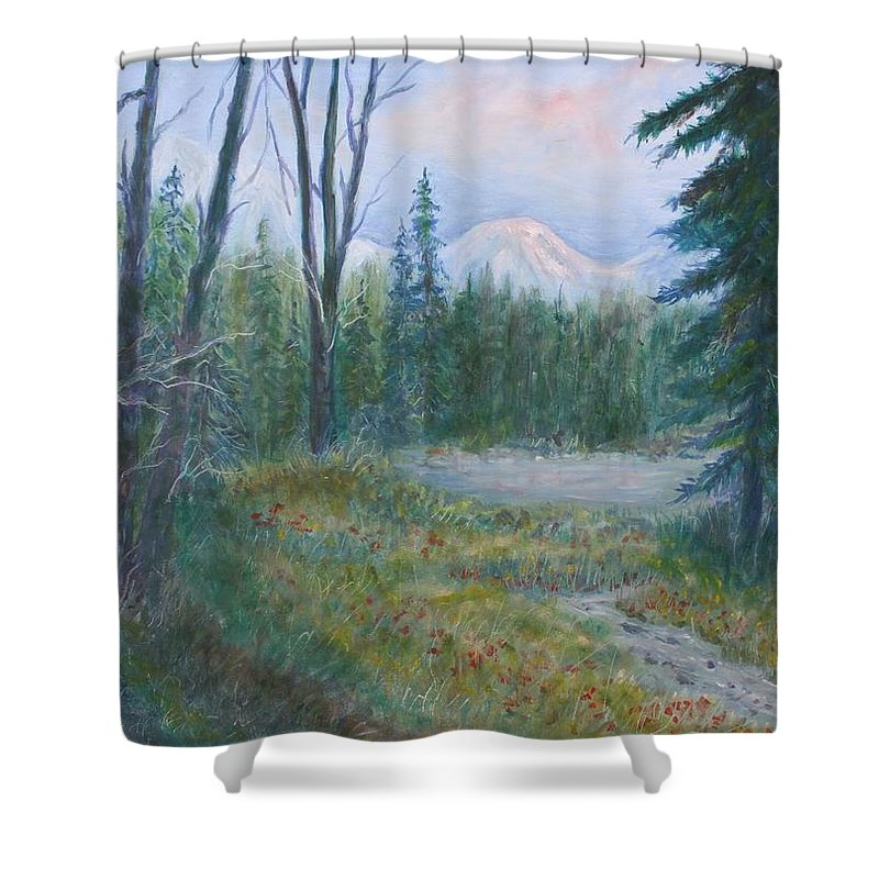 Landscape Shower Curtain featuring the painting Teton Valley by Ben Kiger