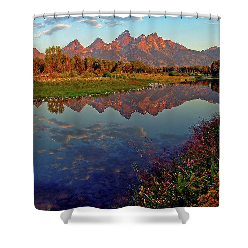 Mountains Shower Curtain featuring the photograph Teton Wildflowers by Scott Mahon