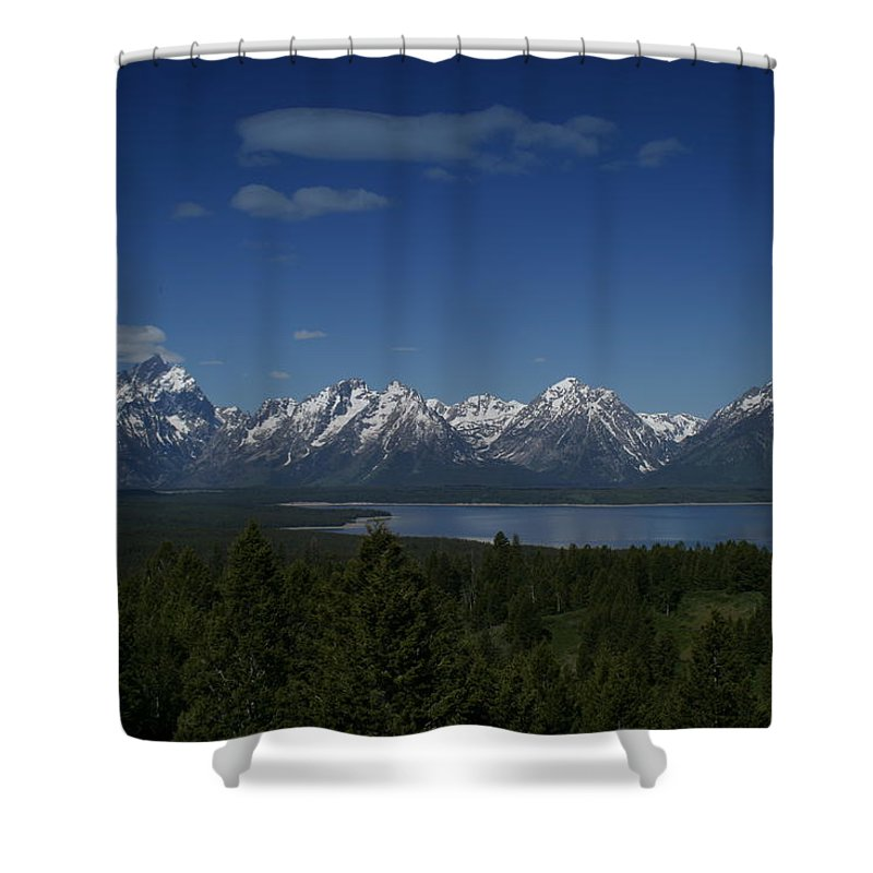Mountains Shower Curtain featuring the photograph Tetons In Blue by Shari Jardina