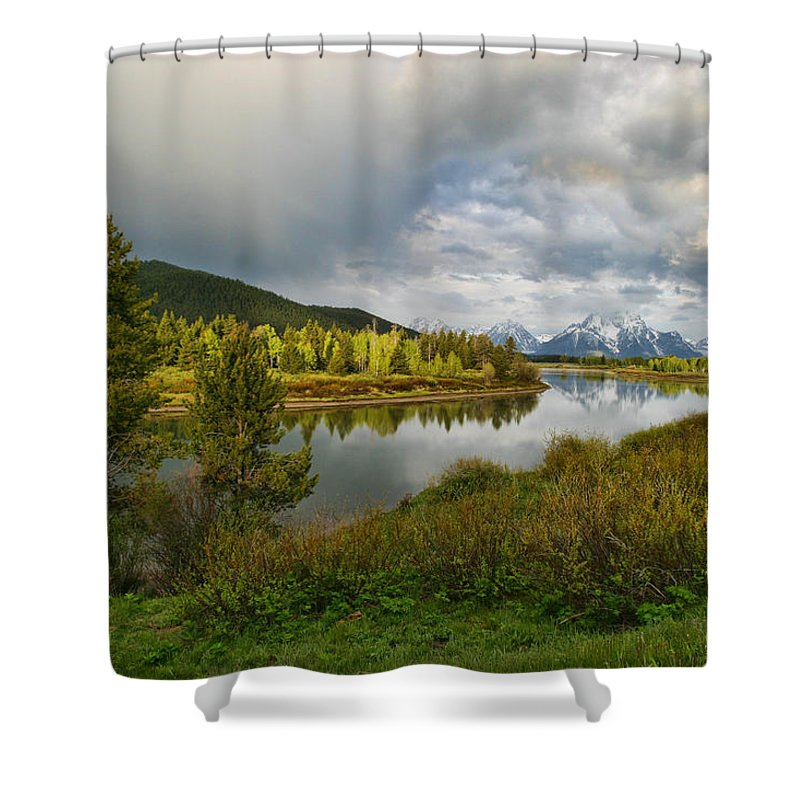 Mountains Grand Tetons National Park Snow Capped Water Lake Aspens Landscape Shower Curtain featuring the photograph Tetons In The Distance by Shari Jardina