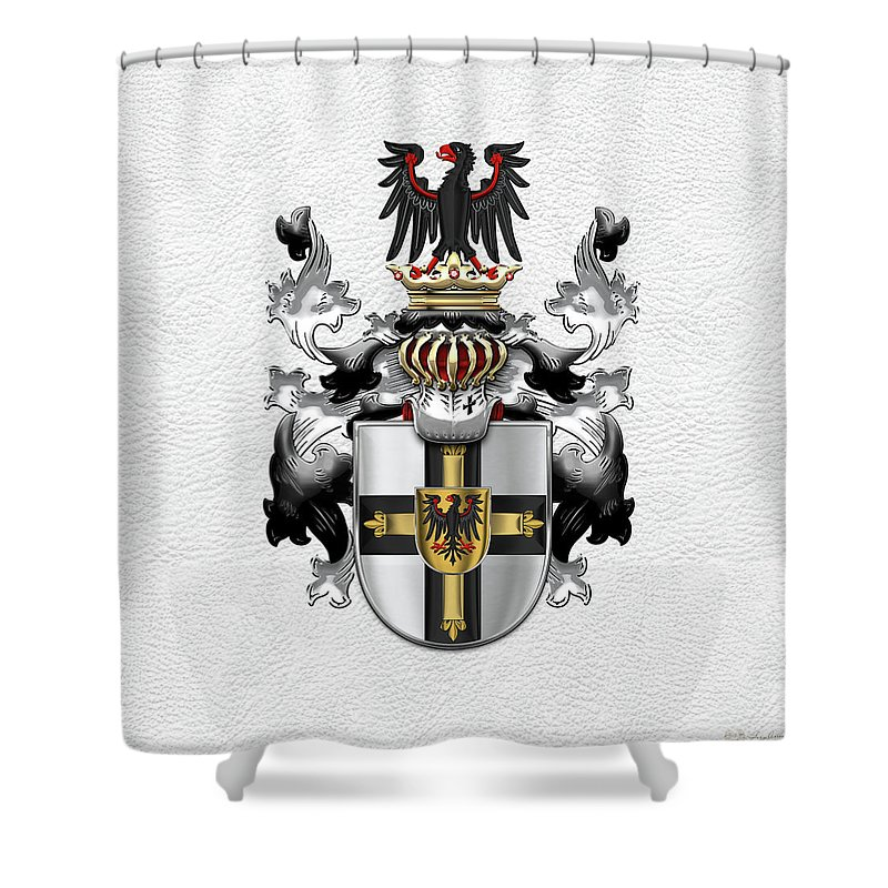 c281ac3a8 Teutonic Order - Coat Of Arms Over White Leather Shower Curtain for ...