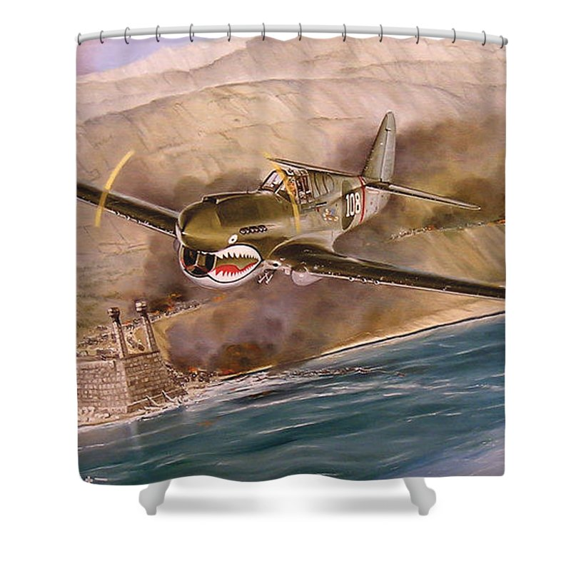 Painting Shower Curtain featuring the painting Tex Hill Over The Salween Gorge by Marc Stewart