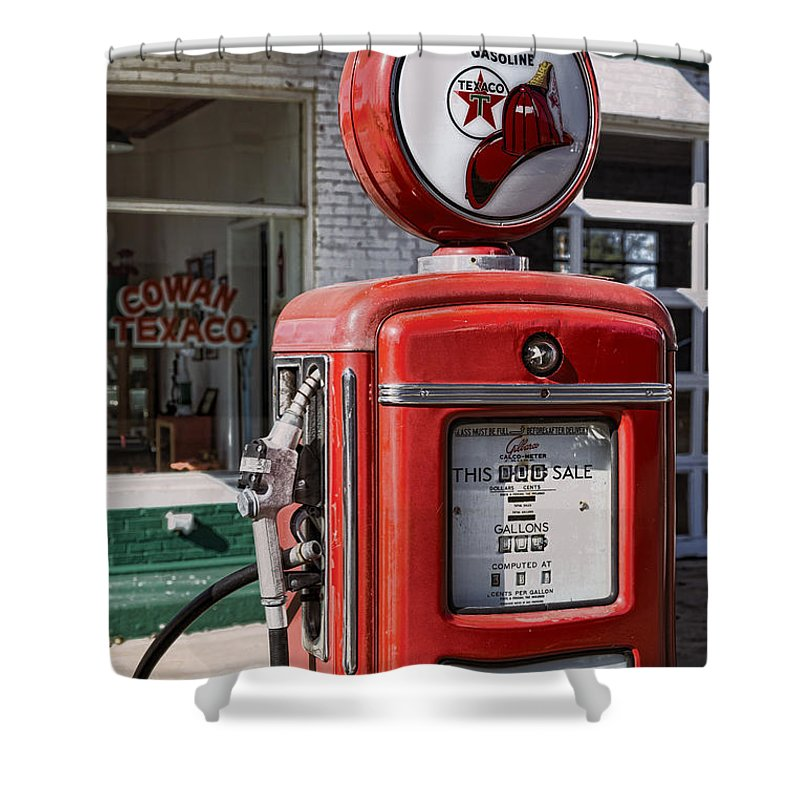 Texaco Shower Curtain featuring the photograph Texaco Fire-chief #1 by Stephen Stookey