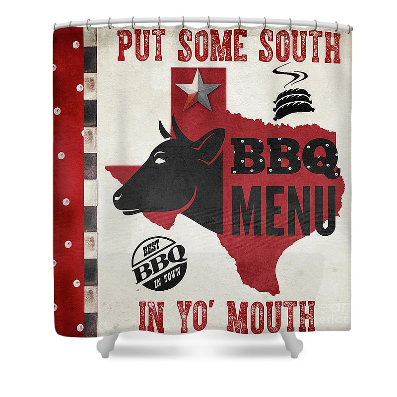 Barbecue Shower Curtain featuring the painting Texas Barbecue 4 by Mindy Sommers