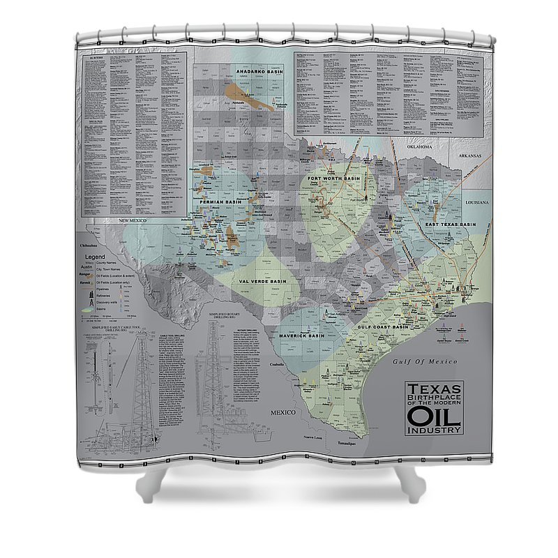 Texas Shower Curtain featuring the digital art Texas - Birthplace Of The Modern Oil Industry by Al White