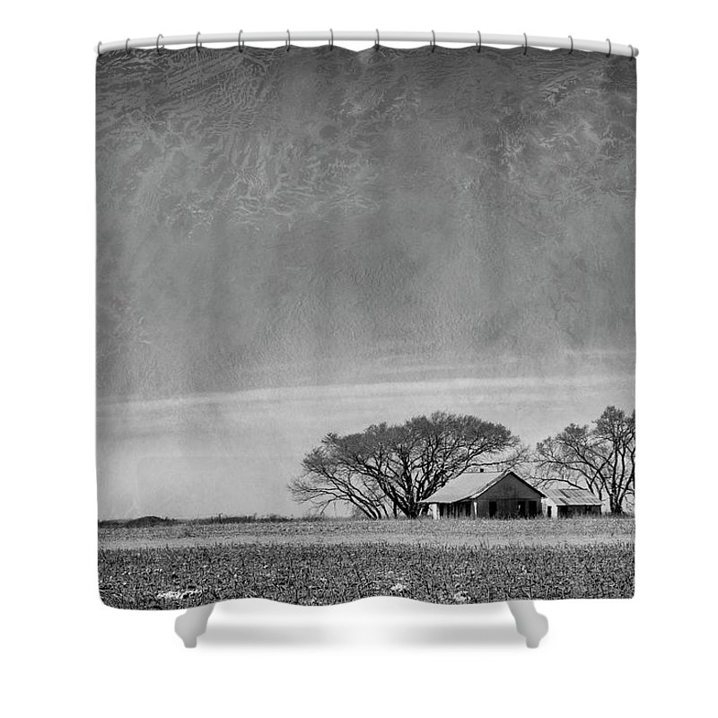 Black And White Shower Curtain featuring the photograph Texas Cotton Farm by Mary Lee Dereske