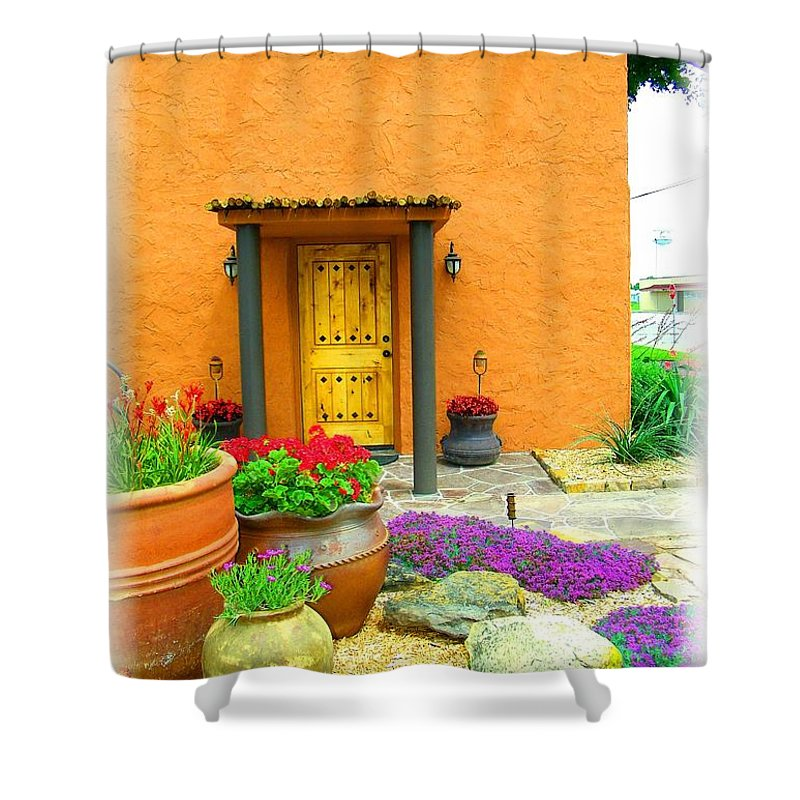 Adobe Shower Curtain featuring the photograph Texas Fiesta-style by Gale Cochran-Smith