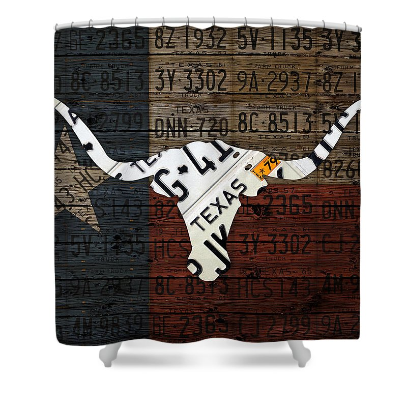 Texas Shower Curtain Featuring The Mixed Media Longhorn And Lone Star State Flag Recycled Vintage