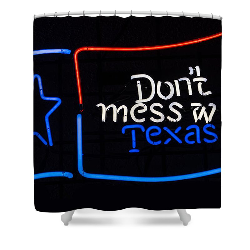 Texas Shower Curtain featuring the painting Texas Neon Sign by Mindy Sommers