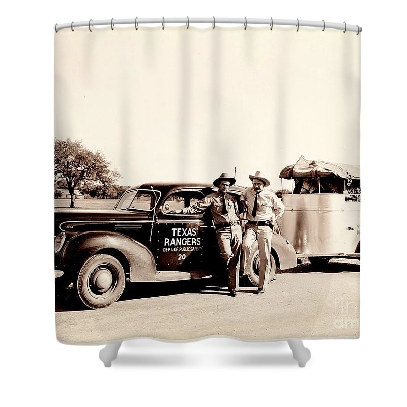 Texas Rangers On The Road With Horses In Trailer 1930s Shower Curtain For Sale By Unknown