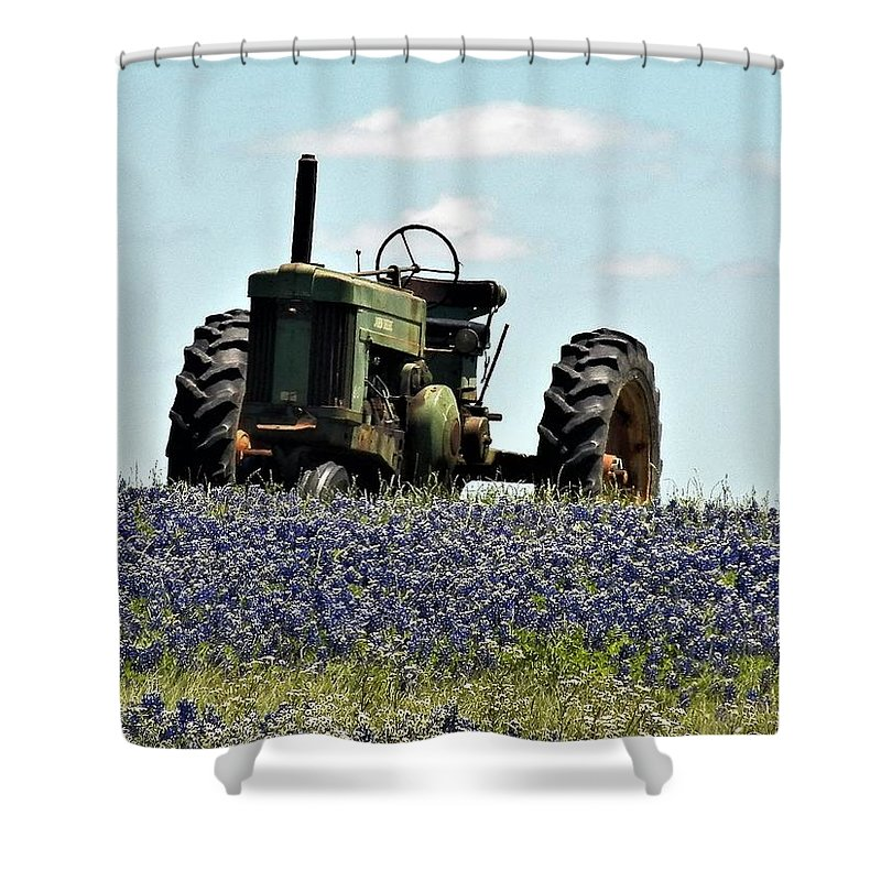Bluebonnets And Old Tractor. Shower Curtain featuring the photograph Texas Spring by Austin Robinson