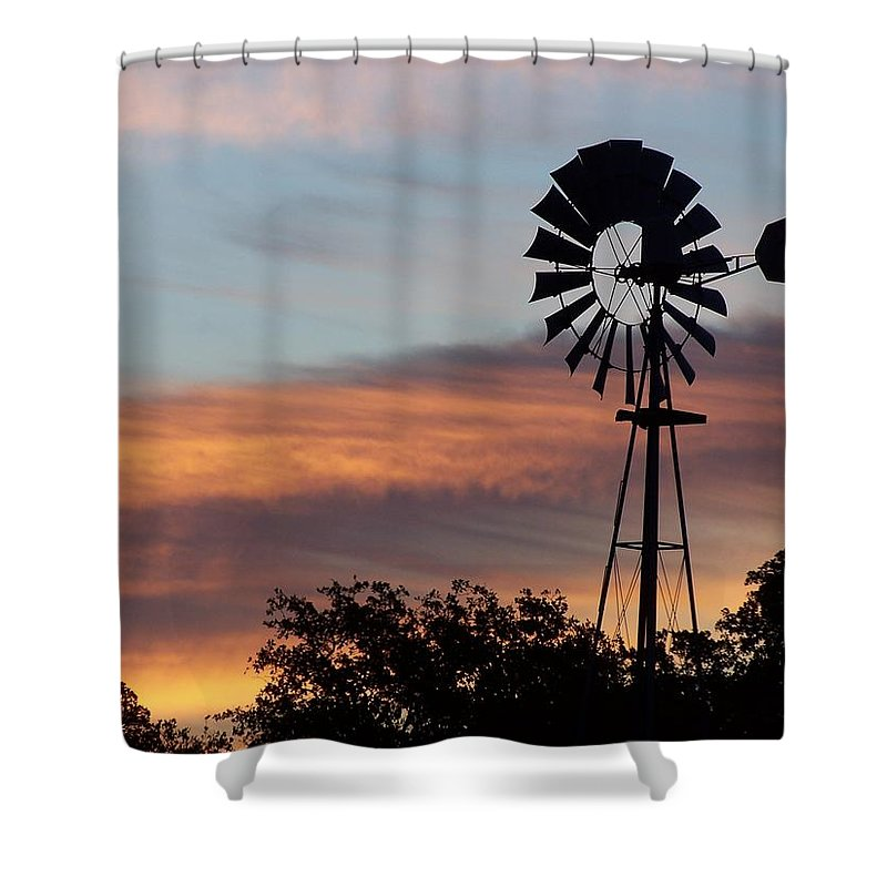 Windmill Shower Curtain featuring the photograph Texas Sunrise by Gale Cochran-Smith