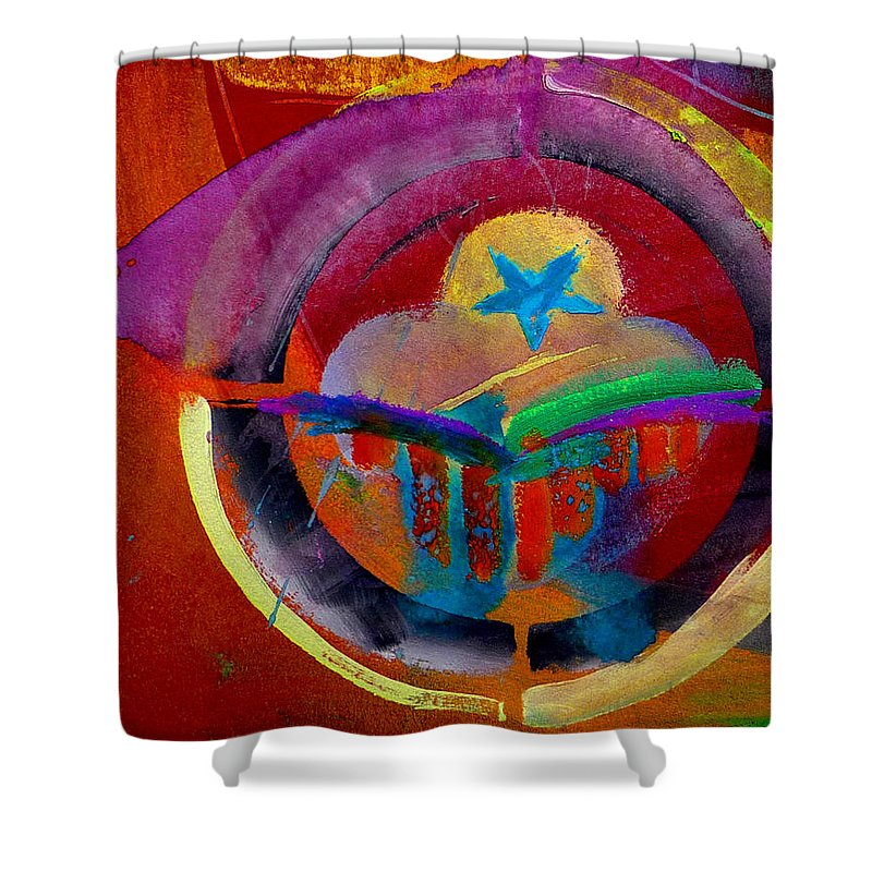 Button Shower Curtain featuring the painting Texicana by Charles Stuart