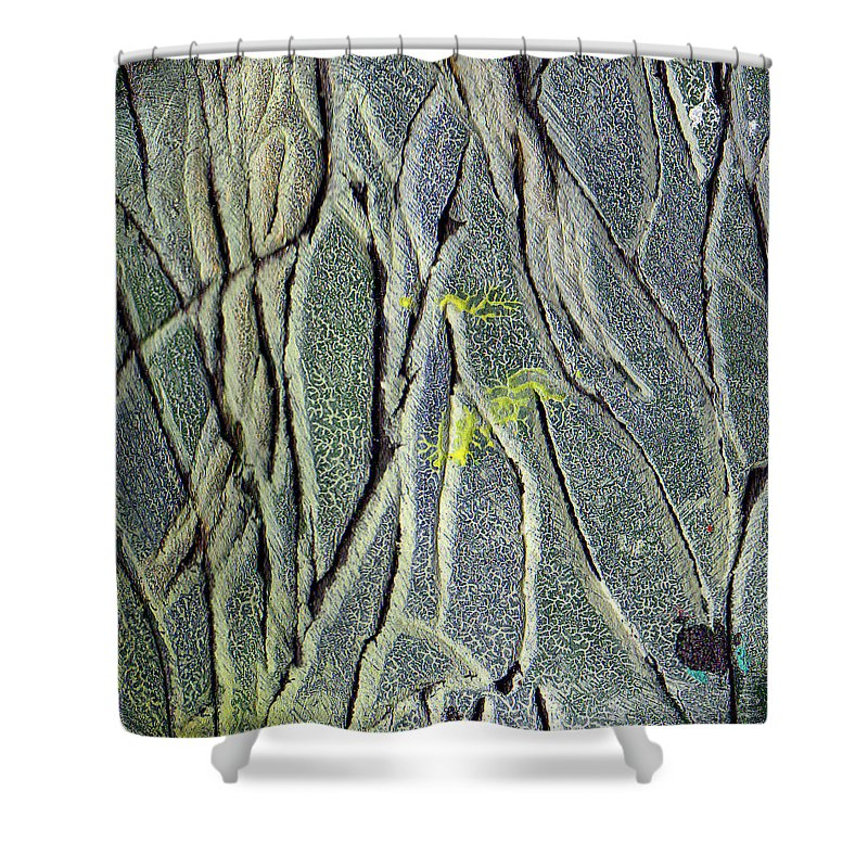 Abstract Shower Curtain featuring the painting Texture Study One  Entanglement by Wayne Potrafka