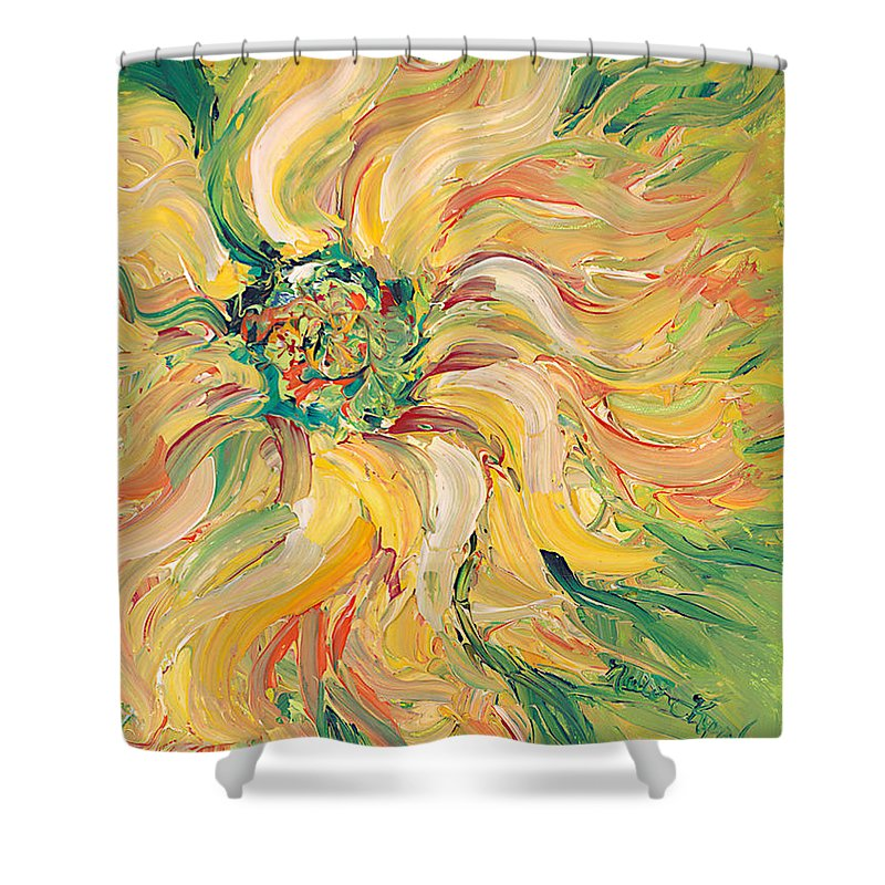 Texture Shower Curtain featuring the painting Textured Green Sunflower by Nadine Rippelmeyer