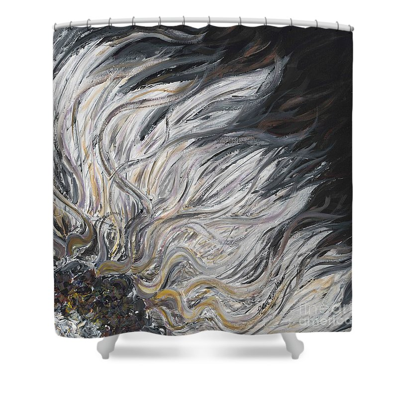 White Shower Curtain featuring the painting Textured White Sunflower by Nadine Rippelmeyer