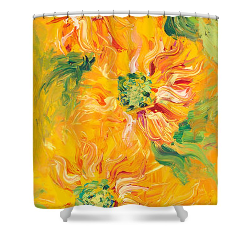 Yellow Shower Curtain featuring the painting Textured Yellow Sunflowers by Nadine Rippelmeyer