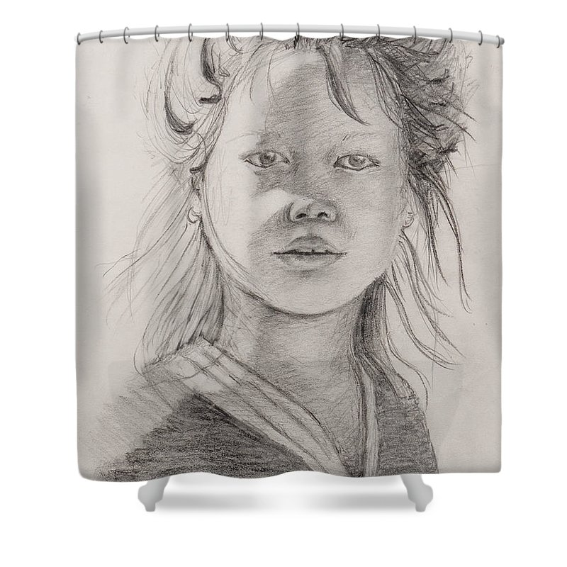 Portrait Shower Curtain featuring the drawing Thai Beauty by Nadine Rippelmeyer
