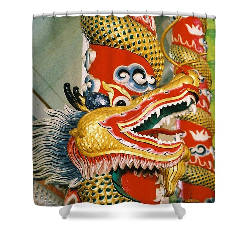 Animal Shower Curtain featuring the photograph Thai Dragon by Mary Rogers