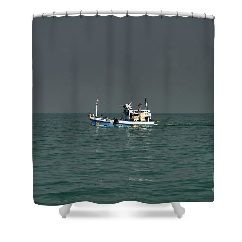Michelle Meenawong Shower Curtain Featuring The Photograph Thai Fishing Boat By